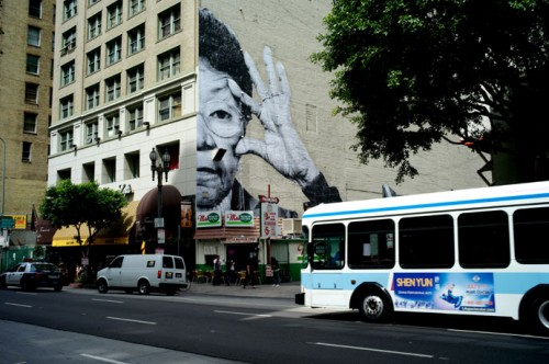 JR LosAngeles 2010 500x332 Amazing Street Art by French Artist JR