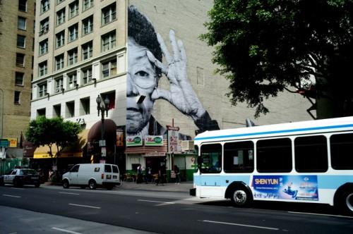 JR LosAngeles 2010 500x332 Amazing Street Art by French Artist JR