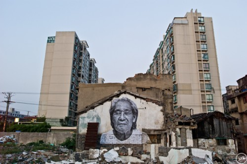 JR Shanghai projectL1000548 500x332 Amazing Street Art by French Artist JR