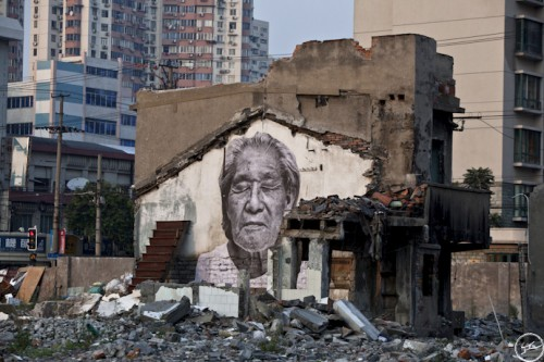 JR Wrikles Shanghai MG 9789 500x333 Amazing Street Art by French Artist JR