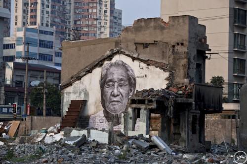 JR Wrikles Shanghai MG 9789 500x333 Amazing Street Art by French Artist JR