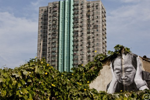 JR shanghai wrinkles MG 4294 500x333 Amazing Street Art by French Artist JR