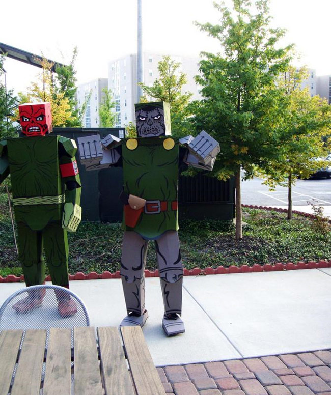 cardboard coustimes 4 Crazy Comic Book Characters Represented in Boxed Costumes