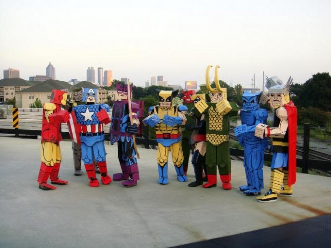 cardboard coustimes 5 650x487 Crazy Comic Book Characters Represented in Boxed Costumes