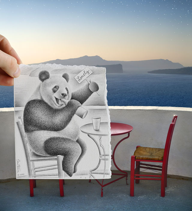 Creative Artwork Pencil Vs Camera by Ben Heine