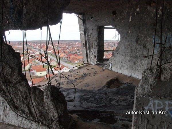 Inside heavily damaged water tower in Vukovar