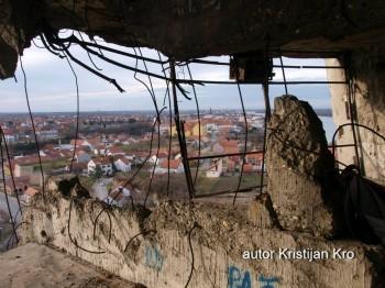 Inside heavily damaged water tower in Vukovar