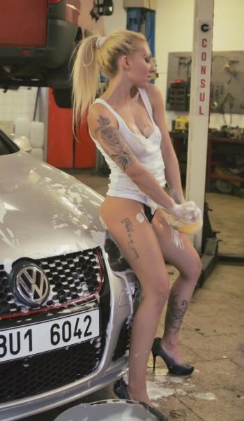 Sexy Girls Washing Car