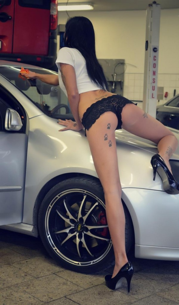 Sexy Girls Washing Car