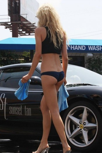 Sexy girls wash Ferrari