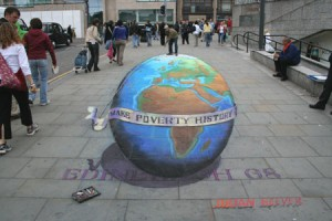 This Make Poverty History drawing was requested by Live8 to support the pressure campaign on the G8 in Edinburgh. It was done in Edinburgh City Centre.