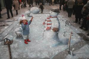 Making Mr. Snowman.