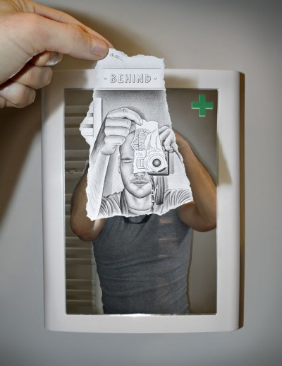 Creative Artwork Pencil Vs Camera by Ben Heine